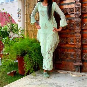 Assymetrical  festive kurta with pants
